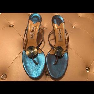 Jimmy Choo North Kimono Blue Sandals 41.5